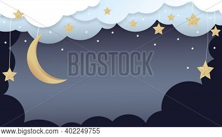 Night Sky Background, Paper Art Abstract Origami Cloudscape, Crescent Moon And Stars,vector Illustra