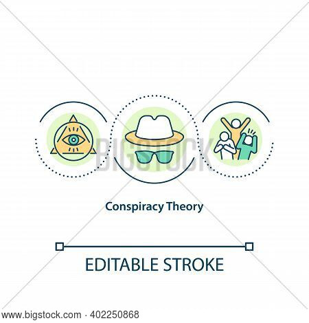 Conspiracy Theory Concept Icon. Secret Political Plot. Public Control, Society Manipulation. Journal