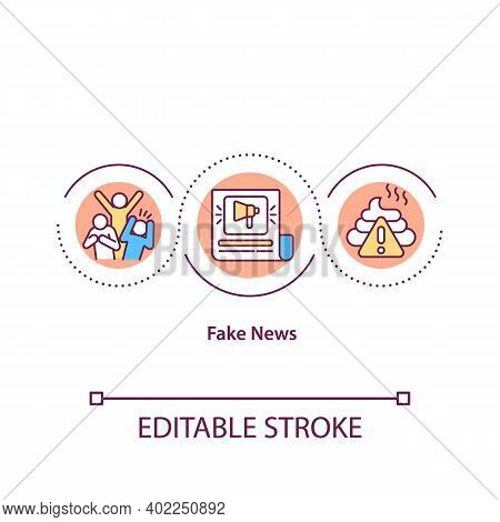 Fake News Concept Icon. False Facts In Publication. Misleading Online Article. Social Propaganda. Jo