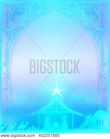 Birth Of Jesus In Bethlehem, Christmas Card , Raster
