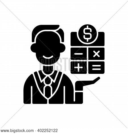 Bookkeeper Black Glyph Icon. Responsible Person For Recording And Maintaining All Business And Compa