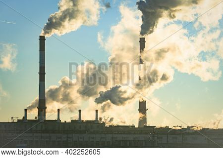 Pollute Industry Atmosphere With Smoke Ecology Pollution, Industrial Factory Pollutes, Smoke Stacks