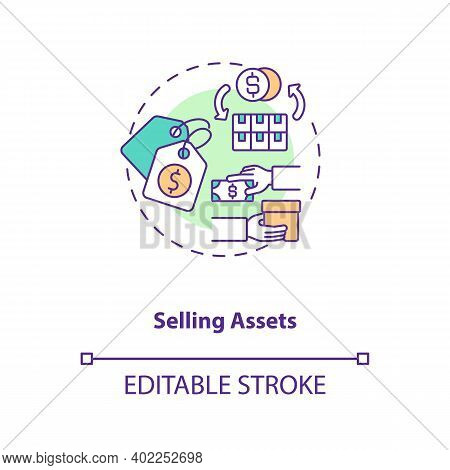Selling Assets Concept Icon. Am Component Idea Thin Line Illustration. Stock Sale. Business Selling.