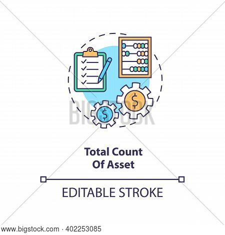 Total Asset Count Concept Icon. Assets Inventory Element Idea Thin Line Illustration. Stockholders E