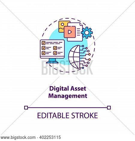 Digital Asset Management Concept Icon. Asset Management Type Idea Thin Line Illustration. Storing, S