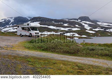 Vestfold Og Telemark, Norway - July 30, 2020: Camper Van Vacation In Vestfold Og Telemark Region, No