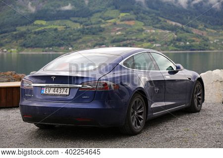 Kinsarvik, Norway - July 30, 2020: Tesla Model S Electric Car Parked In Norway. There Are 2.8 Millio