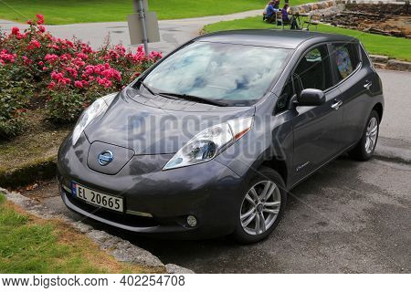 Kinsarvik, Norway - July 30, 2020: Nissan Leaf Compact Electric Car Parked In Norway. There Are 2.8