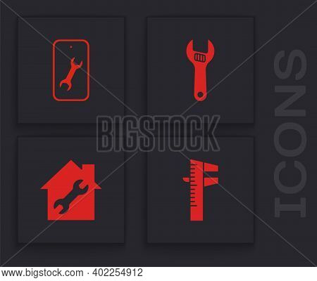 Set Calliper Or Caliper And Scale, Mobile Service, Adjustable Wrench And House Repair Icon. Vector