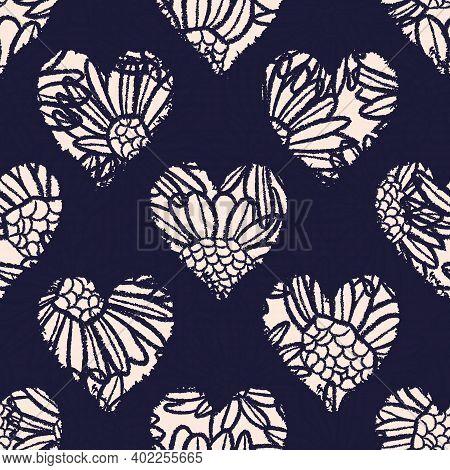 Vector Ecru Flowers Hearts Dark Seamless Pattern