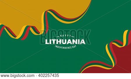 Lithuana Flag Background Design For Lithuana Independence Day. Good Template For Lithuania Independe