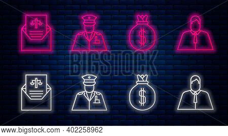 Set Line Police Officer, Money Bag, Subpoena And Lawyer, Attorney, Jurist. Glowing Neon Icon On Bric