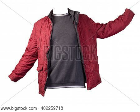 Red Jacket And Gray White Sweater Isolated On White Background.bologna Jacket And Wool Sweater