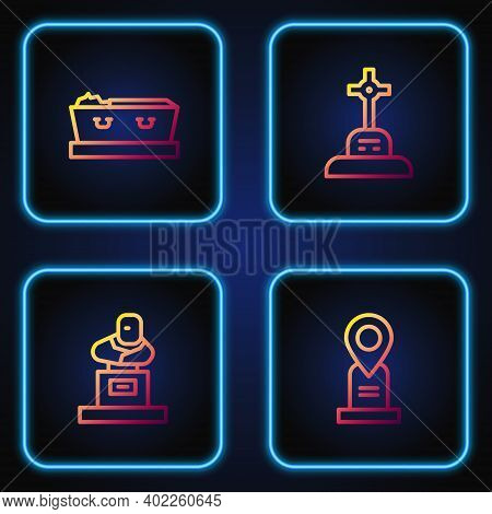 Set Line Location Grave, Grave With Tombstone, Coffin Dead And Cross. Gradient Color Icons. Vector