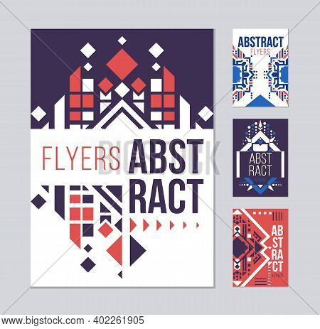 Geometric Abstract Flyers Template. Pink Presentation Templates. Ethnic Element Design For Brochure.