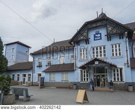 Ruzomberok, Slovakia, August 30, 2020: Exterior View Of The Main Railway Station In Ruzomberok, Big
