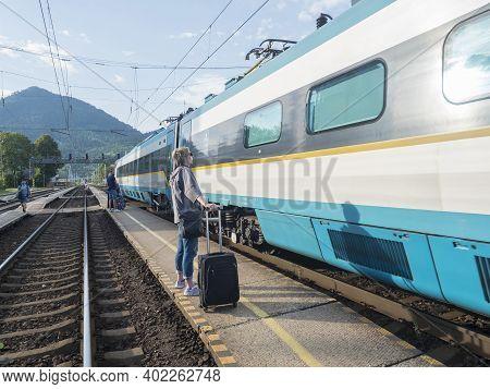 Ruzomberok, Slovakia, August 30, 2020: International Train Arrived At Train Platform With Group Of W