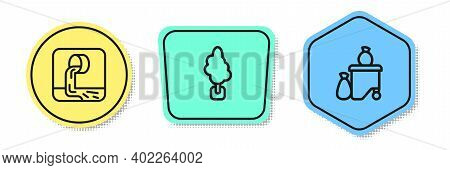 Set Line Wastewater, Tree And Full Dustbin. Colored Shapes. Vector