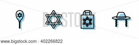 Set Line Shopping Bag With Star Of David, Balloon, Star David And Orthodox Jewish Hat Icon. Vector