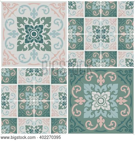 Seamless Decorative Pattern, Applied Thai Art Style. Abstract Background For Cards, Banner, Brochure