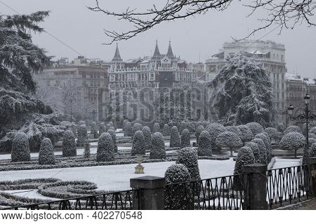 Madrid, Spain - January 07, 2021: General View Of The Parterre Gardens, In The Buen Retiro Park In M