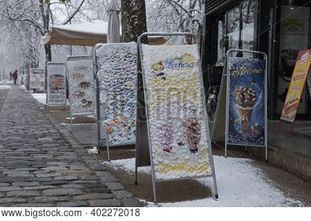 Madrid, Spain - January 07, 2021: Frozen Posters Of Ice Creams, Outside A Cafeteria In The Buen Reti