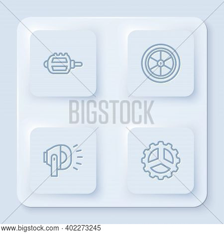 Set Line Bicycle Pedal, Wheel, Head Lamp And Sprocket Crank. White Square Button. Vector