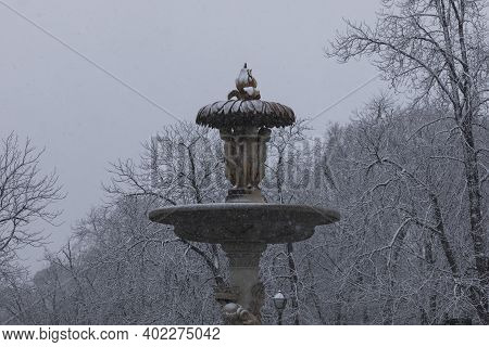 Madrid, Spain - January 07, 2021: A Detail Of The Famous Alcachofa Fountain, In The Buen Retiro Park