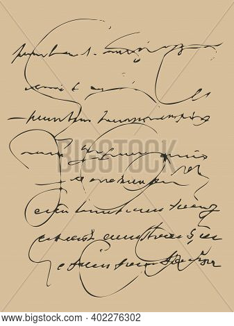 Vector Background Texture Of Medieval Handwriting Of The Papyrus, Plain Text For The Background