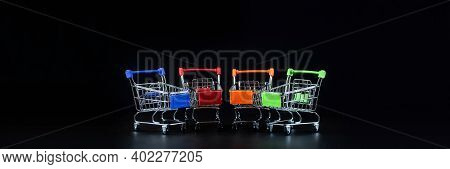 Grocery Supermarket Realistic Trolley Cart, Empty Shopping Cart For Buyer, Consumerism Concept, Conc