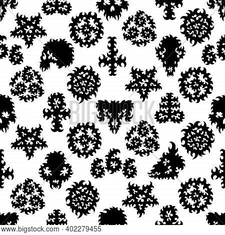 Seamless Pattern With Black Occult Symbols, And Skulls Isolated On White Background.