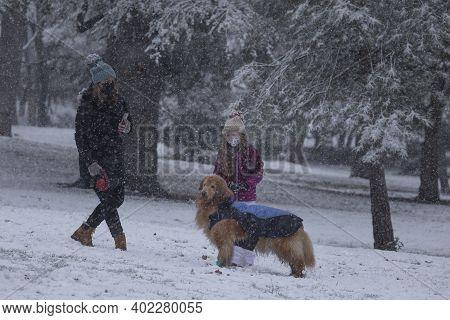 Madrid, Spain - January 07, 2021: People Enjoying With Their Pet, Walking The Dog, In The Buen Retir