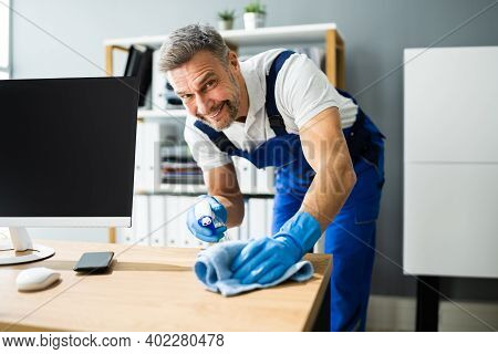 Professional Workplace Janitor Service. Office Desk Cleaning
