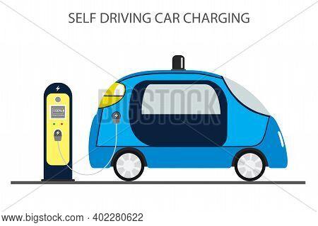 Autonomous Car, Self Driving Auto And Charging Station