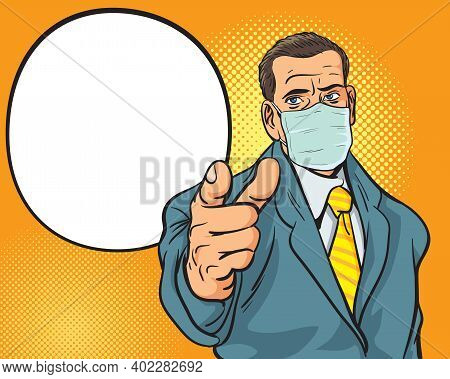 Man With  Medical Mask Pointing Finger Retro Style Pop Art.man With  Medical Mask For Prevent Corona