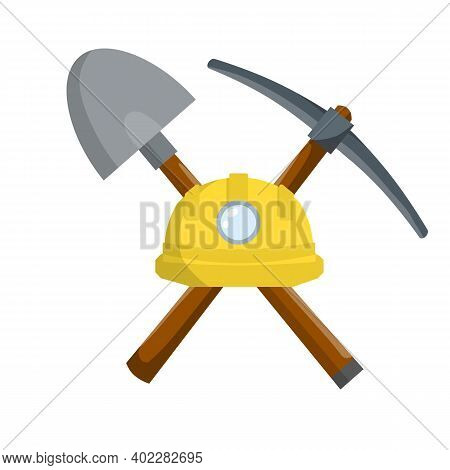 Pick And Shovel. Miner And Digger Tool. Items For Extraction Of Minerals. Logo Of Labour And Work. R
