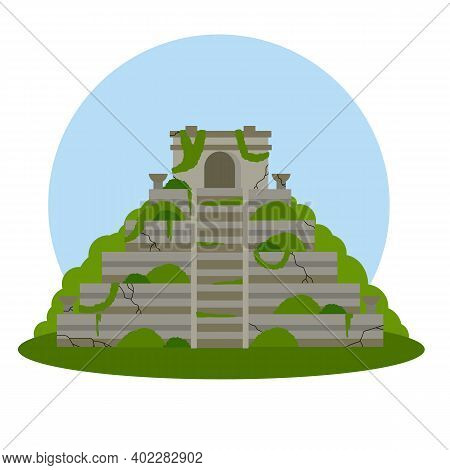Mayan Pyramid. Ancient American Culture. Building In Green Jungle. Tourist Attraction Of Mexico. Ste