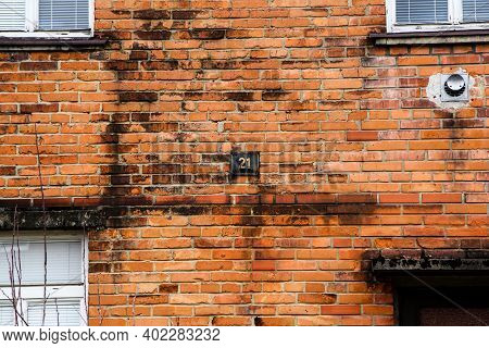A Picture Of The Historical Small Brick Family House. The Detail Of The Frontage.