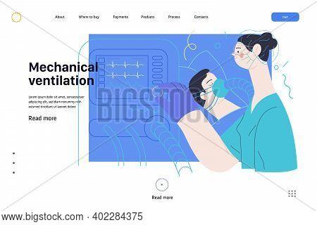 Medical Insurance Web Page Template- Mechanical Ventilation -modern Flat Vector Concept Digital Illu