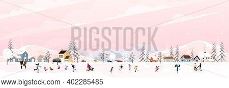 Winter Landscape In City At Night With Snow Falling On Christmas Eve. Vector Illustration Cartoon Wi