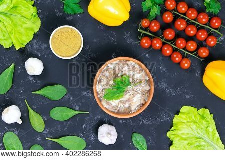 Food.a And Fresh Vegetables. Headcheese.the National Dish Of Russian, Ukraine And Belarus. .jelly. T