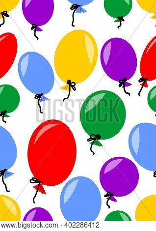 Colored Inflatable Balloons On A White Background. Seamless Background, Pattern For Childrens Textil