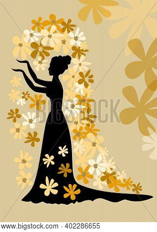 Black Silhouette Of Lady With Bun In Gown With Siding. Lady With Her Arms Folded Against On Golden B