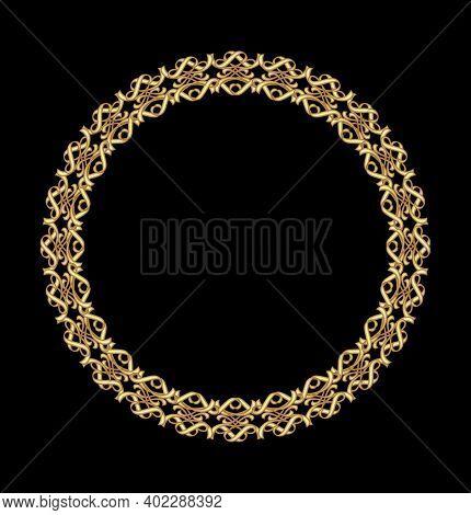 Antique Gold Frame, Circular Frame On A Black Background. Fine Brass Art Deco Frame With 3d Effect.