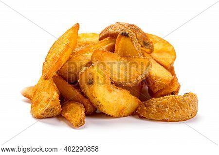 Fried Potato Wedges Isolated On White Background. Baked Tasty Potato Slices.
