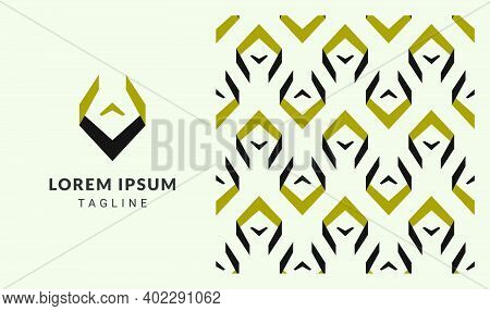 Abstract V Shaped Logo Template Including Seamless Pattern In Gold And Black. Vector Logo Element Fo