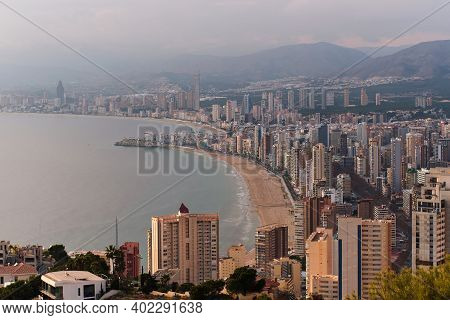 Benidorm Aerial View Cityscape, Sandy Coastline, Modern Skyscrapers View During Sunset. Province Of