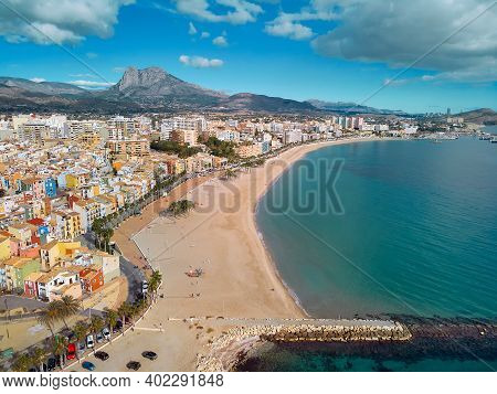 Aerial Drone Point Panoramic View Coastline And La Vila Joiosa Villajoyosa Touristic Resort Townscap