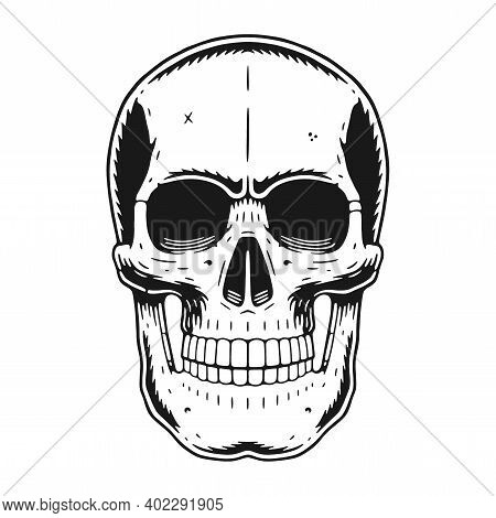 Skull Graphic. Retro Illustration In A Vintage Engraving Woodcut Style.