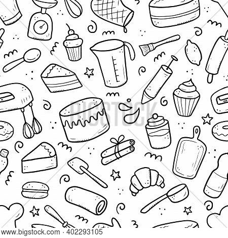 Hand Drawn Seamless Pattern Of Baking And Cooking Tools, Mixer, Cake, Spoon, Cupcake, Scale. Doodle